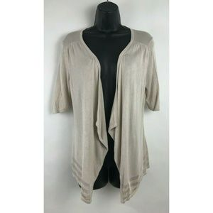 White House Black Market Beige Open Front Cardigan